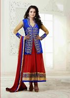 Picture of Elegant ,beautiful blue and red anarkali with jacket