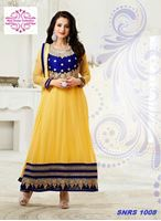 Picture of Yellow and blue anarkali suit occasional wear