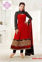 Picture of Red and black beautifully designed anarkali
