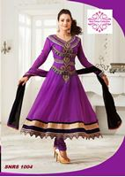 Picture of purple and black with heavy embroided anarkali