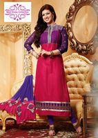 Picture of Elegant pink and blue cotton suit